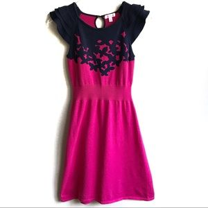 Lily Pulitzer Kariana Dress Sweater Pink Navy Sz S